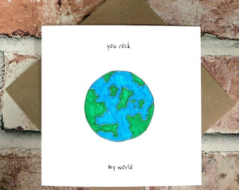 You Rock My World - Funny Anniversary Cards - Cute Anniversary Cards - For Him - Boyfriend - Husband - For Her - Girlfriend - Wife