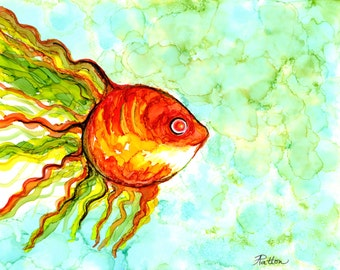 Gift for her, Goldfish painting, alcohol ink print, 8 x 10 inches, abstract, ocean, sea animal, child's room, wall art, fish, kid's room