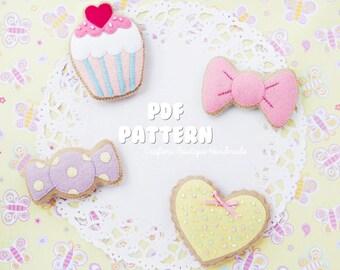 Girly Sugar Cookies PDF Pattern. Digital Pattern. Felt Soft Toy Pattern. Candy Pattern.