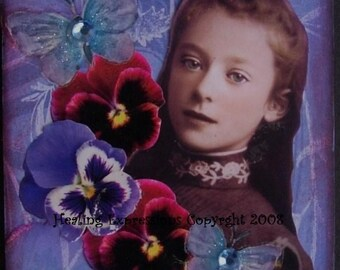 BECOMING HERSELF altered art therapy collage recovery hope survivor Atc Aceo Print