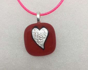 Silver leaf heart - fused glass pendant with free UK p&p