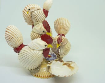 """Sea Shell; Rooster Sculpture; 5""""h x 6""""w - Hand Crafted Folk Art; One of a Kind !!!"""