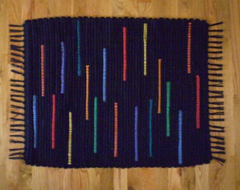 Handwoven Wool Rag Rug / Black and Primary Colors