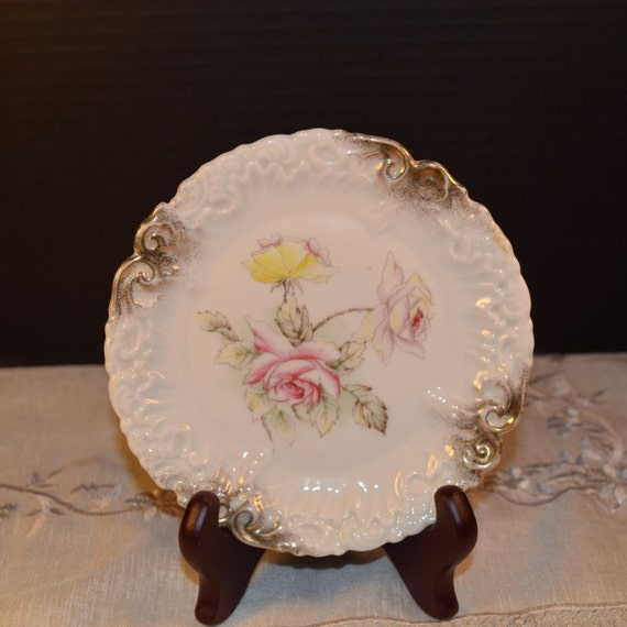 Dresden Germany Floral Plate Vintage Dresden Pink Yellow Rose Bread and Butter Dessert Salad Plate Gold Accents Mothers Day Gifts for Her