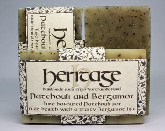 Natural Handmade Patchouli & Bergamot Soap bar. Vegan Soap. Luxury Oil blend. Organic infusions. Cocoa butter. Shea butter. Olive Oil.