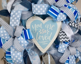 You are Loved Baby Boy Blue White and Grey Mesh Wreath; Baby Shower Wreath Gift; Shower Decoration; Nursery Wreath Decor; Little Boys Room