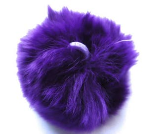 Ball of purple plush with loop elastic size 60mm