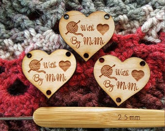 WOOD HEART Knit or Crochet Tag, Custom Etched Wooden garment Tag, Laser etched tag
