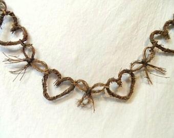 "Grapevine Garland-Hearts & Bows-65"" Long-Country-Farm Chic Decor-Sweetheart Grape Vine Swag-Wall Hanging-Window-Orphaned Treasure-040317G"