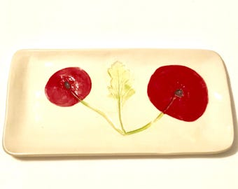 Red Poppy pottery: handmade decor ceramic plate white with red flowers and green leaf tray dresser caddy real impressed botanical design