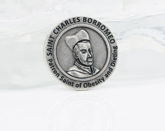 Healing Saint Token, Saint Charles Borromeo, Patron Saint of Obesity and Dieting, St Borromeo, Patron Saint of Weight Loss, Heirloom Quality