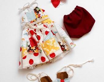 Red polka dot scrap dress, Handmade doll clothes, 18 inch doll clothes, hollys wardrobe, desert bloom apparel