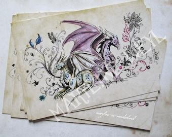 x 1 pretty postcard couple dragon