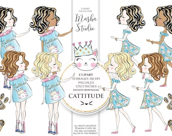 Cattitude Girl Clipart Blonde Girl Clipart African American Girl Clipart Brunette Girl Illustration Cat Paw Clipart 10 images 300 dpi PNG