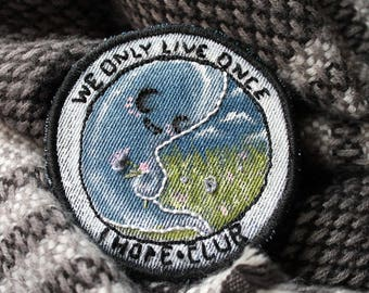 We Only Live Once...I Hope Club, GHOST Patch, Jacket Patch, Embroidered Sew-On Patch, Handmade, Witchy