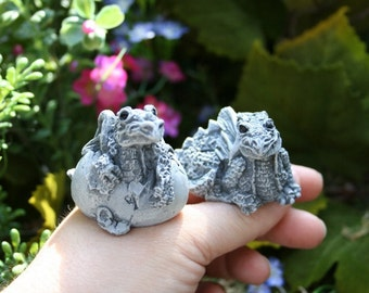 Baby Dragons, 2 Concrete Hatchlings for Your Fairy Garden