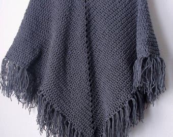 Crochet Granite Poncho with fringe