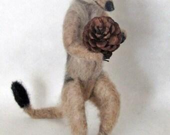Made to order -Needle felted PoseableLife sized 9 inch Meerkat,  handmade animal wool woodland wildlife