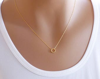Dainty Circle Necklace - Tiny karma pendant on a delicate gold filled chain, Karma Necklace, Layering Necklace, Gold Necklace
