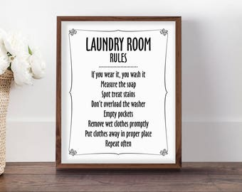 Laundry Room Rules, Laundry Sign, Laundry Sign Decor, Sign for Laundry Room, Laundry Rules, Laundry Room Sign, Cute Laundry Printable, Witty
