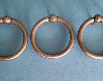 1 Lg ANTIQUE Keeler RING PULL, Cabinet Pulls,Solid Brass Ring Pulls,Vintage Hardware,Antique Hardware,Traditional Hardware,Ring Pulls