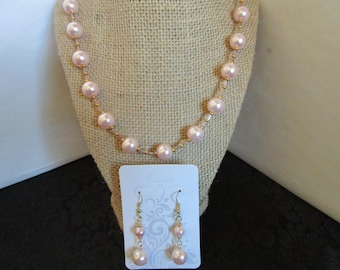 Pink Pearl Necklace & Earrings Set