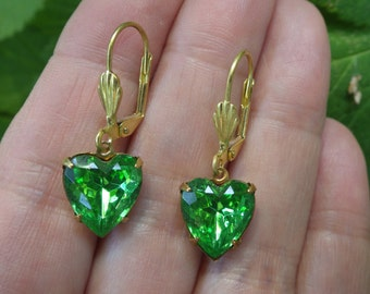 Peridot Heart Earrings ~ Vintage Glass ~ Green Earrings ~ August Birthstone ~ Heart Jewelry ~ by LadyofTheLakesJewels