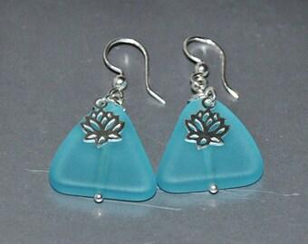 Aqua Sea Glass Earrings,  Beach Earrings,  Beach Wedding,  Lotus Earrings, 2 in 1 Earrings,  Sea Glass Jewelry,  Sterling Silver