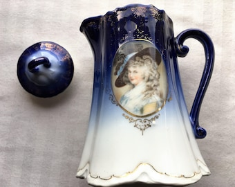 Vintage Pitcher|Old Porcelain Pitcher with Portrait|18th Century France|Home & Living|Kitchen and Dining|Dining and Serving|Made in Japan