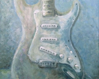 Sale 16x20 Original Painting Guitar Art Framed Fender Under Water by Rebecca Salcedo Ffaw free US Shipping