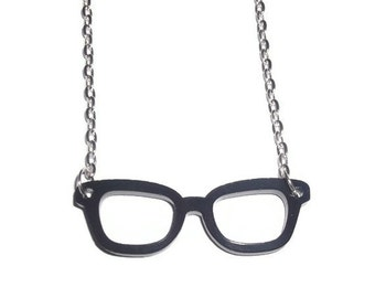Nerd Glasses Necklace, Black Geek Laser Cut Necklace