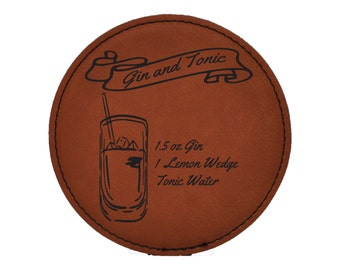 Gin and Tonic Drink Coasters - Classic Mixed Drink Recipies - Choice of Coaster Color and Shape - 073