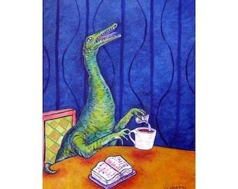 Procompsognathus at the coffee Shop Dinosaur Art Print