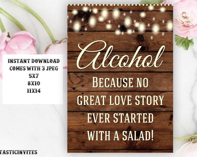 Printable Wedding Sign, Alcohol Sign, Rustic Wedding Sign, Printable Sign, Wedding Sign, Rustic Wedding, Wood Sign, Digital Sign
