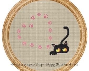 Cross Stitch Pattern PDF cat and hearts DD0145