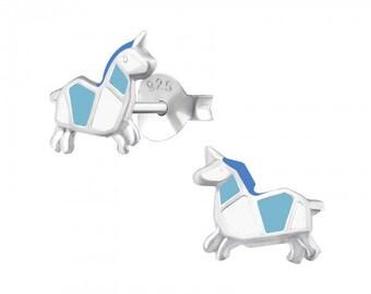 925 Sterling Silver Unicorn Earrings with Blue & White Enamel