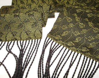Handwoven Scarf, Hand Woven Tencel Scarf, Tencel Scarf, Woven Scarf, Leaves & Vines in Sage-Black - Woven Tencel Scarf - #13-09
