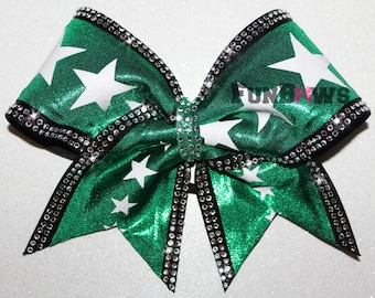 Rhinestones and Stars, beautiful new Allstar Cheer bow by FunBows !