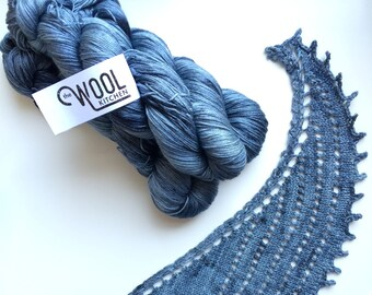Hand dyed yarn 4ply finger weight merino and silk 100g. In Worn Denim.