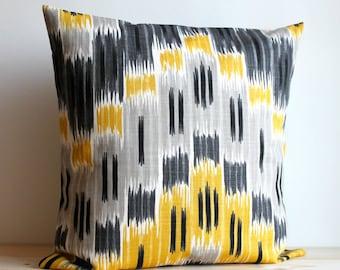 Yellow and Grey Ikat Pillow Cover, 14x14, Ikat Cushion - Ikat Zigzag Sunshine