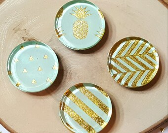 4 Mint Magnets / 1 inch, Glass, Gold, Summer, Fridge, Magnets / Stripes, Pineapple, Triangles / Gift under 5, Birthday Gift, Home Decor