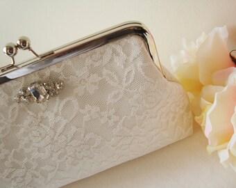 Bridal Clutch / Wedding clutch / Dinner ( Ivory ) - Rhinestone DIAMOND Stone Ivory Lace Clutch