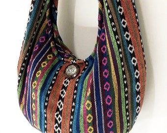 Woven Bag Purse Tote Women bag Thai Cotton Bag Hippie bag Hobo bag Boho bag Shoulder bag Elephant button Everyday bag Short Strap (WF33)