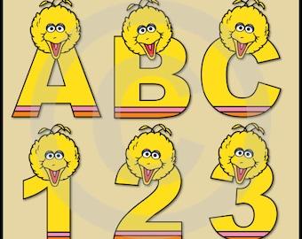 Big Bird (Sesame Street) Alphabet Letters & Numbers Clip Art Graphics