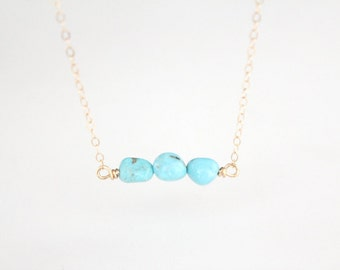 Turquoise Nugget Necklace - Layla