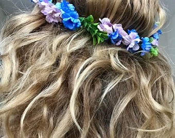 Lavender and Blue Boho Flower Crown