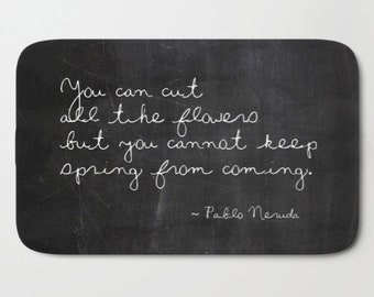 Pablo Neruda Bath Mat Set, Neruda Quote Bath Rug, Shabby Chic, Cottage Decor, Boho, Floral Bathroom, Inspirational Quote, Garden Gifts