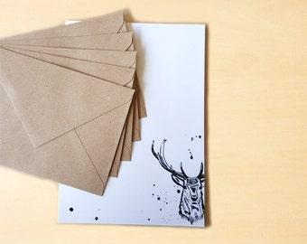 Stationery Letter Writing Set with kraft envelopes - Deer
