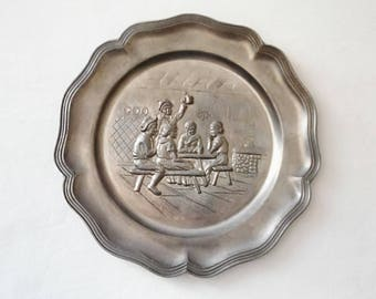 Plate pewter bar scene. France 1980