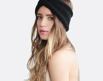 Hand Knit Turban in Black, Chunky Knit Turban, Wool Headwrap, Winter Headband, Black Turban, Warm Womens Turband